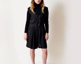 1990s Black Linen Romper 90s Vintage Playsuit Onesie Jumpsuit M L