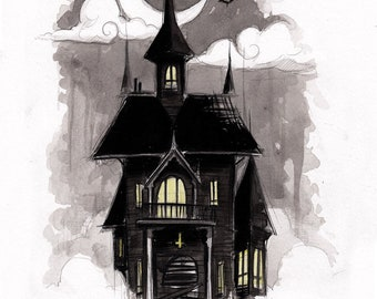 haunted house - fine art print - 5x7