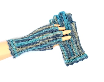 Half Finger Gloves Turquoise Gray Blue Ladies Half Finger Gloves Wrist Warmers Hand Warmers Arm Warmers Crochet Gloves Fingerless Gloves