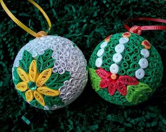 Paper Quilling Christmas balls ornaments
