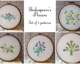 Shakespeare's Flowers Embroidery Pattern Set of 5 - PDF Instant Download - Includes Stitch and Color Guide
