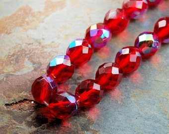 8mm Czech Beads Faceted  in AB Ruby Red -16 inch strand