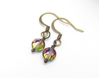 Minimal Crystal Earrings, Vintage Swarovski Vitrail Multi Color Crystals, Dainty Petite Dangle Drop, Bridesmaid Wedding Gift, Minimal Modern