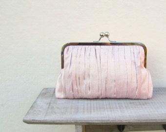 Pink clutch, pink bridal clutch bag, pink wedding clutch, pleated clutch, bridesmaid clutch, bridesmaid gift, uk, shabby chic clutch