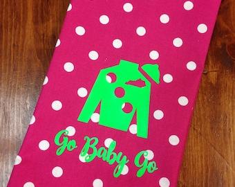 Hot pink polka dot hand towel with lime Jockey Silk, Kentucky Derby hand towel, Derby decor