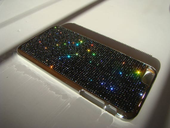 iPhone 6 Plus Case / iPhone 6s Plus Case Black Diamond Rhinestone Crystals,Silver Chrome Case. Velvet/Silk Pouch Bag Included, .