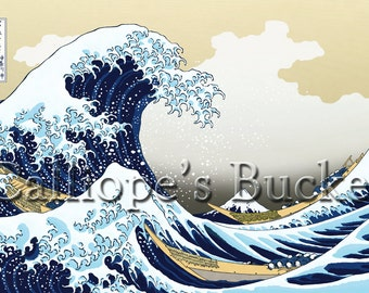 """Beneath the Great Wave off Kanagawa - 富嶽三十六景 神奈川沖浪裏 (all artworks are sold without the """"Calliope's Bucket"""" stamp)"""
