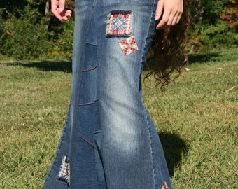 Long Jean Skirt with Patches Made To Order