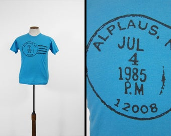 Vintage Alplaus NY T-shirt Post Office USPS Mail Carrier Tee Made in USA - Small / Medium