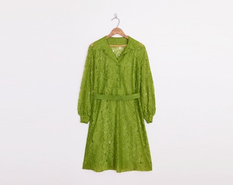 Sheer Lace Dress Mini Dress Shirt Dress Shift Dress Olive Green Dress 60s Dress 60s Mod Dress 70s Dress Hippie Dress Belted M Medium L Large