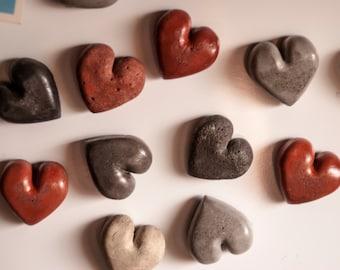 Concrete Hearts fridge magnets. Set of three.