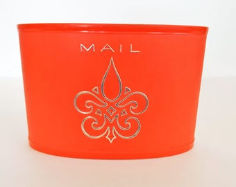 Vintage Mail Caddy Desk Caddy Sixties Mail Caddy Plastic Mail Caddy Red Mail Caddy Office Decor Craft Room Organizer