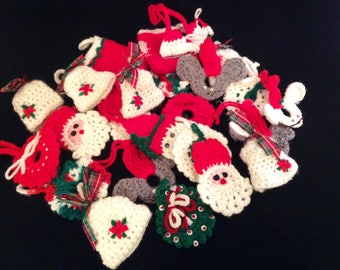 Crocheted Vintage Christmas Ornaments - Handmade Crocheted Christmas Ornaments - Lot Set of 24 Ornaments