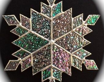stained glass snowflake suncatcher (design 9C)