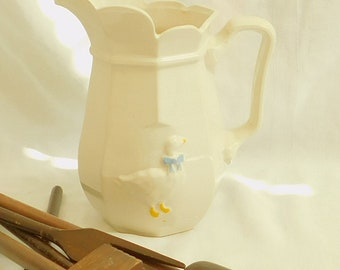 Classic McCoy White Serving Pitcher Vase, Country Accents, Scalloped, Octagon Shape, Duck Goose Blue Bow, Farmhouse Decor, Flower, USA 2155