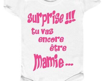 "onesie message humor ""surprise! You'll be Grandma again"""