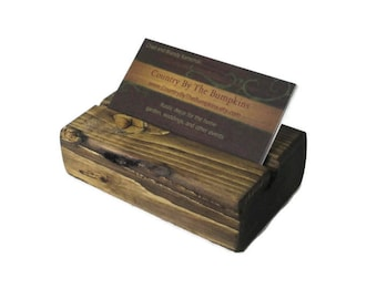 Reclaimed Wood Business Card Holder - Rustic Office Decor - Eco-Friendly