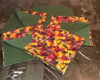 Handcrafted Napkins and Center Mat - Set of Four