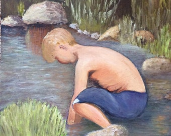 PAINTING ARTWORK PICTURE, vintage painting of young boy, pond, unframed art, collectible