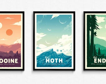 Star Wars Retro Travel Posters - Set of 3 - Poster Prints