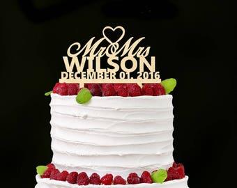 Wedding Cake Topper - Wooden Cake Topper - Rustic Cake Topper - Mr Mrs Cake Topper - Personalized Caketopper - Mr Mrs - Rustic Wedding Decor