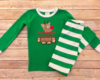 Green personalized striped Christmas pajamas, embroidered Christmas outfit, Winter pajamas, Children's personalized,Matching family