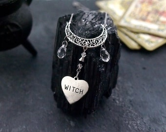 Wiccan necklace, Witch jewelry, Moon pendant, Symbolic necklace, Gothic crystal necklace, Witchcraft, Fantasy necklace, Pagan jewelry