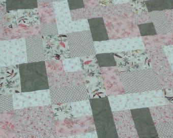 Green and pink bird handmade lap quilt