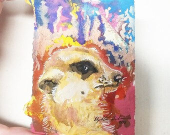 "Original Collage ACEO ""Meerkat"""