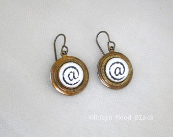AT @ symbol vintage letterpress glass cab earrings in vintage brass bezels