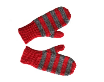 Children's Red & Gray Stripe Knit Mittens, Child Size 4, Handmade by Knight Family Knits