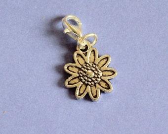 Silver Flower Purse Charm,Silver Flower Charm,Bag Charm,Flower Bracelet Charm,Silver Charm,Silver Flower Bag Charm,Silver Purse Charm