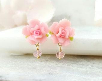 Pink Earrings - Pink Rose Dangle Earrings - Pink Crystal Drop Earrings - Victorian Rose Earrings - Pink Flower Earrings Floral Jewelry M1082