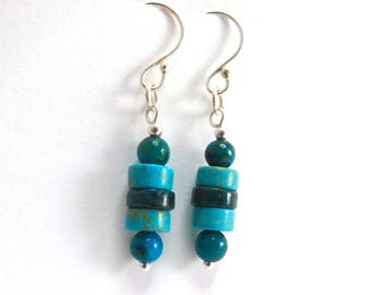 Turquoise Earrings, Sterling Silver Earrings with Chrysocolla and Natural Turquoise
