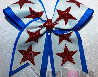 Amazing Custom Large Glitter Stars Cheer Hairbow  - by FunBows !