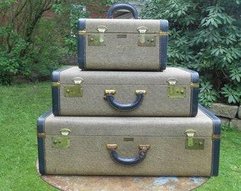 Vintage Tweed Suitcase Luggage Set of 3 Blue Leather Trim Matching Set Small Sized Train Case, Medium, and Large Suitcase Wedding Photo Prop