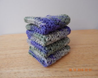 Dish Cloth, Wash Cloth, Crochet Dish Cloth, 100 percent cotton, Set of 4 -- purple, green, and gray, gift under 10.00