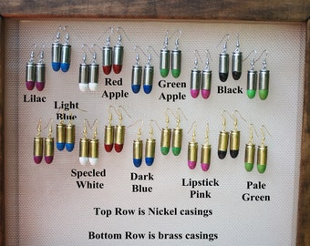 Powder coated 9 mm bullet ear rings in several colors