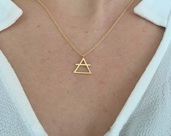 Alchemy Necklace, Air Necklace, Alchemy Air Necklace, Triangle Necklace, Symbol Necklace, Air Symbol Necklace