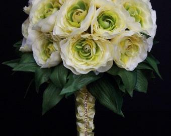 Yellow Cream Ranunculus Bridal Bouquet, Elegant Silk Wedding flowers, Rhinestone Accent, FFT original design, Ready to ship