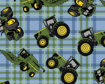 John Deere Tractors on Plaid from Springs Creative by the yard