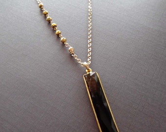 Onyx Long Bar Necklace / Natural Onyx Bezel / Black Onyx Gold / Pyrite Rosary / Black Gold Necklace/ Black Stone Necklace Gold // BE10