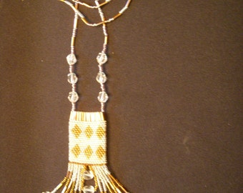 Bronze Diamond Brick Stitch Amulet Bag