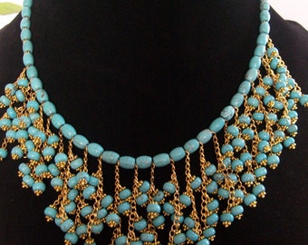 set necklace and bracelet, turquoise stone howlite, gold chain