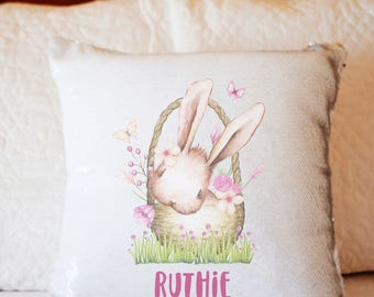 Easter BUNNY personalized sequin pillow Easter basket gift for kids