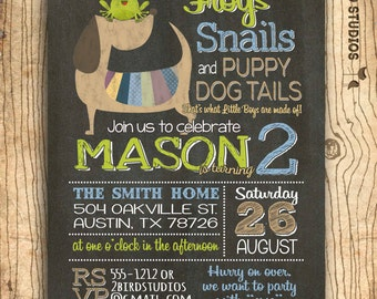 frogs snails and puppy dog tails invitation - 1st birthday invitation - 2nd birthday party invite - printable