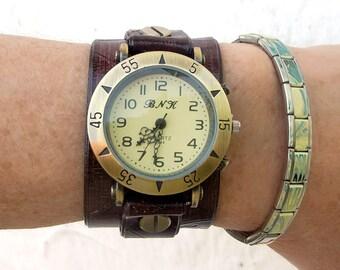 Women leather watch, Leather cuff watch, Leather Wrist Watch, Retro style watch for women