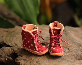Ankle boot size M for body neo blythe, pure neemo, Mimi body, Fabric Red polka dot