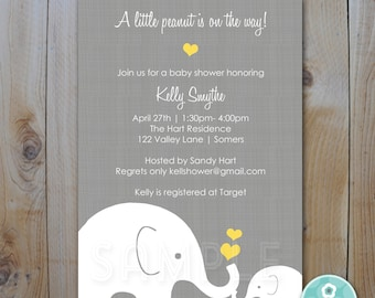 Yellow and Grey Elephant Baby Shower Invitation, Little Peanut Elephant, Gender Neutral Design, Printable Digital Invitation, Item 10295