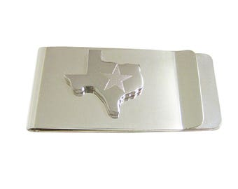 Texas State Map Shape and Flag Design Money Clip